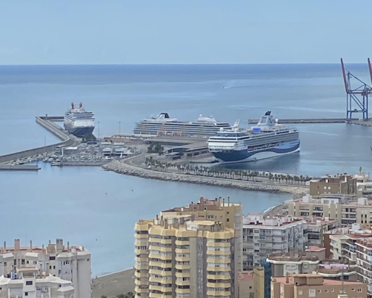 3 buques de crucero coinciden en el Puerto de Málaga